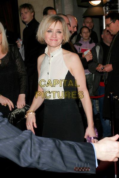 ANNE-MARIE DUFF.The Orange British Academy Film Awards in 2008 The Royal Opera House, Covent Garden, London, England. .February 10th, 2008 .BAFTA Arts half length black white dress .CAP/AH.©Adam Houghton/Capital Pictures