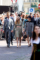 Mariage du Prince Ernst junior de Hanovre et de Ekaterina Malysheva &agrave; l'&eacute;glise Markkirche &agrave; Hanovre.<br /> Allemagne, Hanovre, 8 juillet 2017.<br /> Wedding of Prince Ernst Junior of Hanover and Ekaterina Malysheva at the Markkirche church in Hanover.<br /> Germany, Hanover, 8 july 2017<br /> Pic : Prince Pierre Casiraghi &amp; wife Beatrice Borromeo &amp; Princess Charlotte Casiraghi