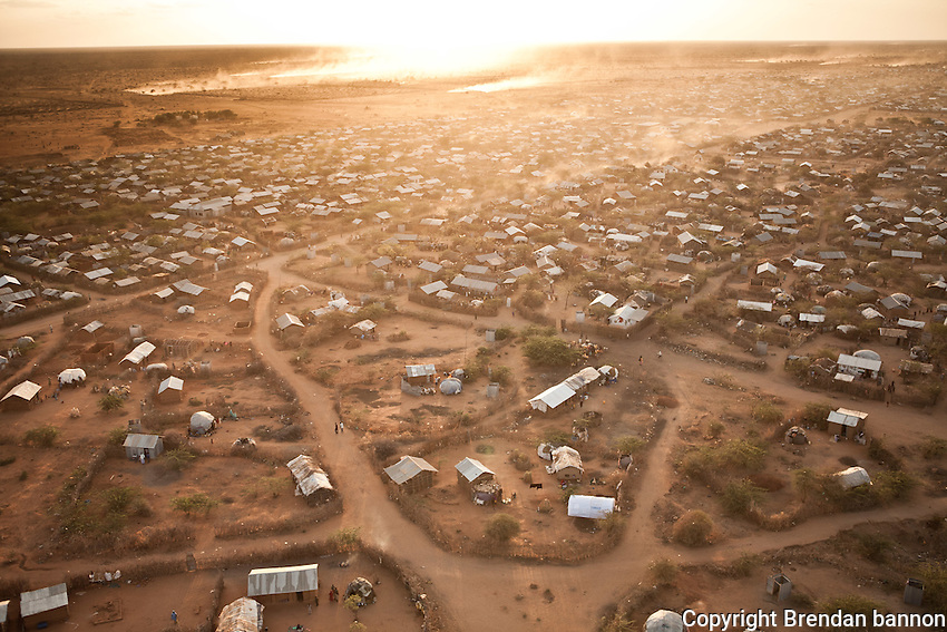 Dagahaley camp in Dadaab, Kenya. The sprawling rfugee camp complex in eastern Kenya is the largest in the world itha  population nearing 500,000 people. The camp grew enormously in 2011 as  Somalis fled drought and civil war for the safe haven of Dadaab. Oct 2011. Brendan Bannon/IOM/UNHCR