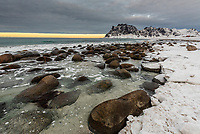 Uttakleiv Beach, Vestavagoya Island, Lofoten Islands, Arctic, Northern Norway.