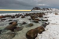Uttakleiv Beach, Vestavagoya Island, Lofoten Islands, Arctic, Northern Norway.
