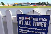 Keep off the pitch sign ahead of Leicestershire CCC vs Essex CCC, Specsavers County Championship Division 2 Cricket at the Fischer County Ground, Grace Road on 24th August 2016