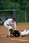 DARMSTADT, GERMANY - SEPTEMBER 08: Game 1 between Darmstadt Whippets (black) and Frankfurt Eagles (white) at match day 14 in the Regionalliga Suedwest at Memory Field sports ground on September 08, 2013 in Darmstadt, Germany. Final score 5-4 after the 3rd extra inning. (Photo by Dirk Markgraf/www.265-images.com).