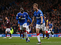 3rd November 2019; Hampden Park, Glasgow, Scotland; Scottish League Cup Football, Rangers versus Heart of Midlothian; Filip Helander of Rangers celebrates the opening goal after making it 1-0 in the 45th minute of the first half - Editorial Use