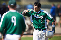 Farmingdale State Rams Nick Osburn (5) motions to teammates after hitting a home run during the first game of a doubleheader against the FDU-Florham Devils on March 15, 2017 at Lake Myrtle Park in Auburndale, Florida.  Farmingdale defeated FDU-Florham 6-3.  (Mike Janes/Four Seam Images)