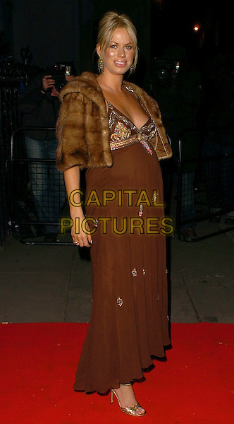 CAROLINE STANBURY.Andy Wong's Chinese New Year Party,.Royal Courts of Justice,.London, England, 28th January 2006..full lengthpregnant brown Matthew Williamson dress gold beads beaded fur jacket cropped gold shoes .Ref: CAN.www.capitalpictures.com.sales@capitalpictures.com.©Capital Pictures
