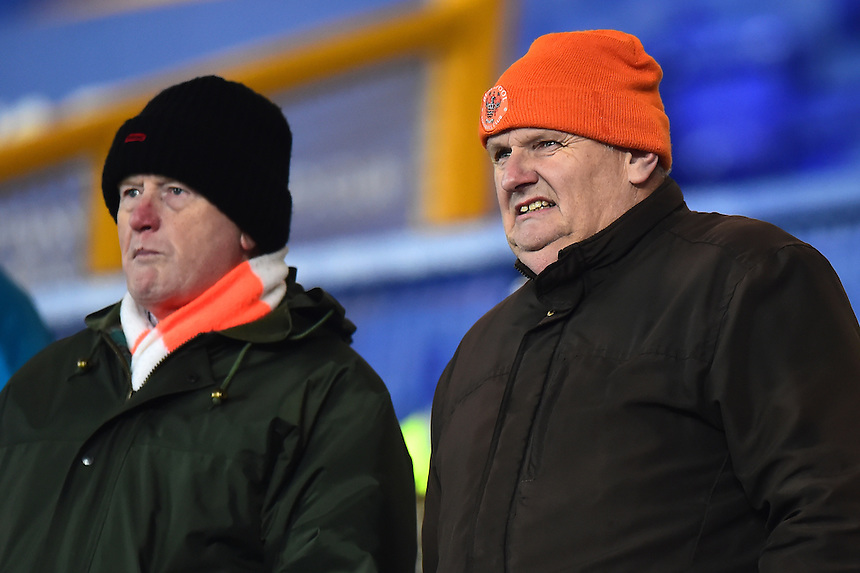 Blackpool fans look on<br /> <br /> Photographer Richard Martin-Roberts/CameraSport<br /> <br /> The Checkatrade Trophy - Northern A - Everton U21 v Blackpool - Tuesday 8th November 2016 - Goodison Park - Liverpool<br />  <br /> World Copyright &copy; 2016 CameraSport. All rights reserved. 43 Linden Ave. Countesthorpe. Leicester. England. LE8 5PG - Tel: +44 (0) 116 277 4147 - admin@camerasport.com - www.camerasport.com