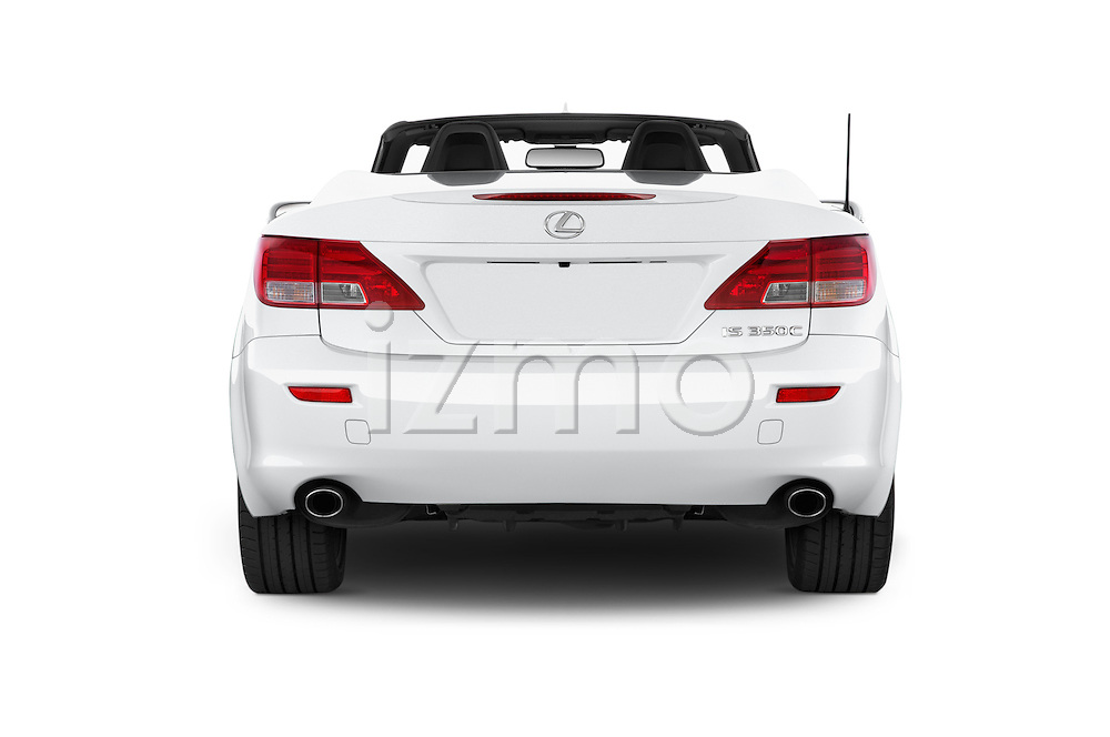 Straight rear view of a 2015 Lexus IS 350C 2 Door Coupe Rear View  stock images