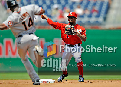 8 June 2008: Washington Nationals' infielder Willie Harris makes a double-play against the San Francisco Giants at Nationals Park in Washington, DC. The Nationals dropped the afternoon matchup to the Giants 6-3 in their third consecutive loss of the 4-game series...Mandatory Photo Credit: Ed Wolfstein Photo