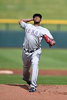 Surprise Saguaros pitcher Lisalverto Bonilla (59) during an Arizona Fall League game against the Mesa Solar Sox on October 17, 2014 at Cubs Park in Mesa, Arizona.  Mesa defeated Mesa 5-3.  (Mike Janes/Four Seam Images)