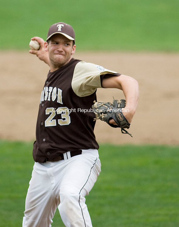 THOMASTON, CT - 04 MAY 2009 -050409JT03-<br /> Thomaston's Nick Johnston pitches during Monday's game against Northwestern at Thomaston. Northwestern won, 4-1.<br /> Josalee Thrift Republican-American