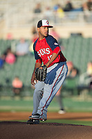 Hagerstown Suns starting pitcher Pedro Avila (15) in action against the Kannapolis Intimidators at Kannapolis Intimidators Stadium on May 6, 2016 in Kannapolis, North Carolina.  The Intimidators defeated the Suns 5-3.  (Brian Westerholt/Four Seam Images)