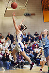 WATERBURY CT. 16 February 2018-021619SV08-#5 Emma Cretella of St. Paul puts up a basket as #30 Paige Davis of Oxford defends during the NVL girl&rsquo;s basketball tournament in Waterbury Saturday.<br /> Steven Valenti Republican-American