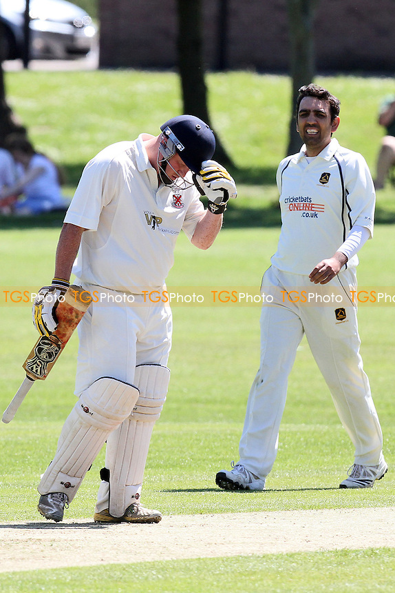 Frustration for Paul Murray of Hornchurch after he is given out lbw - Hornchurch CC vs Loughton CC - Essex Cricket League at Harrow Lodge - 26/05/12 - MANDATORY CREDIT: Gavin Ellis/TGSPHOTO - Self billing applies where appropriate - 0845 094 6026 - contact@tgsphoto.co.uk - NO UNPAID USE.