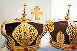 Close up of crowns at Holy Transfiguration of Our Lord Chapel, Ninilchik, Kenai Peninsula, Southcentral Alaska.