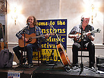 Colm and Ben Sands performing at the Johnstons Folk Music Festival in the Conyngham Arms hotel Slane. Photo:Colin Bell/pressphotos.ie