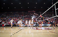 STANFORD, CA - November 4, 2018: Meghan McClure, Sidney Wilson, Jenna Gray, Tami Alade, Kathryn Plummer, Kate Formico at Maples Pavilion. No. 2 Stanford Cardinal defeated the Utah Utes 3-0.