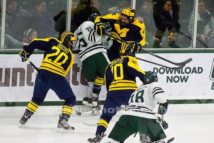 The University of Michigan men's hockey team defeats Michigan State University, 5-2, at Munn Arena in East Lansing, Mich., on Jan. 24, 2014.