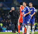 Chelsea's Jose Mourinho celebrates with Petr Cech at the final whistle<br /> <br /> Barclays Premier League- Chelsea vs Everton  - Stamford Bridge - England - 11th February 2015 - Picture David Klein/Sportimage
