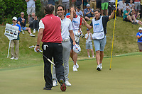 Rafael Cabrera Bello (ESP) and Phil Mickelson (USA) shake hands following their match during day 3 of the World Golf Championships, Dell Match Play, Austin Country Club, Austin, Texas. 3/23/2018.<br /> Picture: Golffile | Ken Murray<br /> <br /> <br /> All photo usage must carry mandatory copyright credit (&copy; Golffile | Ken Murray)