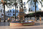 Fountain and palm trees in Plaza de Espana, Vejer de la Frontera, Cadiz Province, Spain