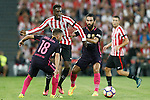 Athletic de Bilbao's Inaki Williams (c) and FC Barcelona's Jordi Alba (l) and Arda Turan during La Liga match. August 28,2016. (ALTERPHOTOS/Acero)
