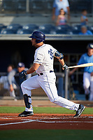 Charlotte Stone Crabs designated hitter Nathaniel Lowe (36) during a game against the Dunedin Blue Jays on June 5, 2018 at Charlotte Sports Park in Port Charlotte, Florida.  Dunedin defeated Charlotte 9-5.  (Mike Janes/Four Seam Images)