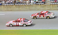 Darrell Waltrip 11 Bill Elliott 9 action Daytona 500 at Daytona International Speedway in Daytona Beach, FL in February 1986. (Photo by Brian Cleary/www.bcpix.com) Daytona 500, Daytona International Speedway, Daytona Beach, FL, February 16, 1986.  (Photo by Brian Cleary/www.bcpix.com)