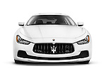 White 2014 Maserati Ghibli S Q4 luxury car front view isolated on white background with clipping path