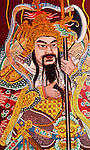Temple Door 03 - Warrior guardian painted on a door at the Thian Hock Keng Temple, Telok Ayer St, Singapore