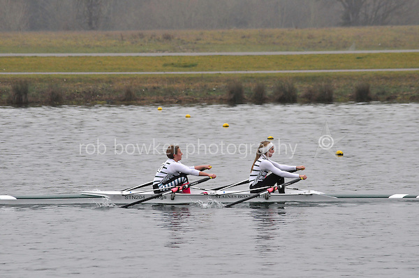 147 Staines W.J16A.2x..Marlow Regatta Committee Thames Valley Trial Head. 1900m at Dorney Lake/Eton College Rowing Centre, Dorney, Buckinghamshire. Sunday 29 January 2012. Run over three divisions.