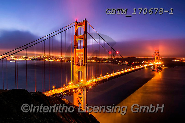 Tom Mackie, LANDSCAPES, LANDSCHAFTEN, PAISAJES, photos,+America, American, Americana, California, Golden Gate Bridge, North America, Pacific Ocean, San Francisco, Tom Mackie, USA, b+lue, blue hour, bridge, bridges, coast, coastal, coastline, coastlines, colorful, colourful, destination, destinations, desti+natons, floodlit, gold, golden, holiday destination, horizontal, horizontals, icon, iconic, illuminated, illumination, landsc+ape, landscapes, light, night time, nightscene, sea, time of day, tourist attraction, trave,America, American, Americana, Cal+,GBTM170678-1,#l#, EVERYDAY