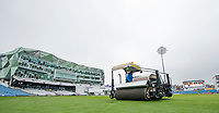 Picture by Allan McKenzie/SWpix.com - 13/04/2018 - Cricket - Specsavers County Championship - Yorkshire County Cricket Club v Essex County Cricket Club - Emerald Headingley Stadium, Leeds, England - Groundsman Andy Foggarty on the Blotter taking up water from the Headingley outfield prior to the first match of the Specsaver's County Championship.