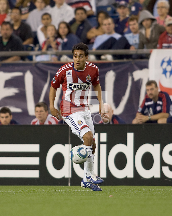Two goal scorer Chivas USA midfielder Jesus Padilla (10) at midfield. Chivas USA defeated the New England Revolution, 4-0, at Gillette Stadium on May 5, 2010.