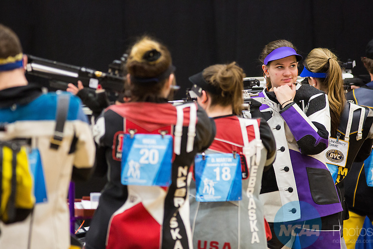 14 MAR 2015: The Division I Rifle Championship is held at the UAF Patty Center on the University of Alaska Fairbanks campus in Fairbanks, AK. JR Ancheta/NCAA Photos