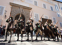 Mountain troopers from Tegernsee at the honorary evening for Pope Benedict XVI. for his 85th Birthday in the courtyard of the papal summer residence at Castel Gandolfo in Italy, with costumes clubs from all over Bavaria. Castel Gandolfo, Italy, 03.08.2012...Credit: Nickels/face to face / Mediapunchinc  - ***online only for weekly magazines**** /NortePhoto.com<br /> <br />  **CREDITO*OBLIGATORIO** *No*Venta*A*Terceros*<br /> *No*Sale*So*third* ***No*Se*Permite*Hacer Archivo***No*Sale*So*third*