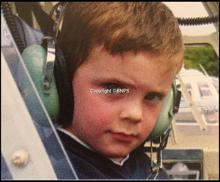 BNPS.co.uk (012902 558833)<br /> Pic: TomWren/BNPS<br /> <br /> Jake Groves aged 4, sitting in a helicopter.<br /> <br /> A  teenager inspired by his war hero great grandfather who flew in the Battle of Britain has become on the Britain's youngest ever pilots by completing his first solo flight on his 16th birthday.<br /> <br /> Jake Groves spent his birthday following in his great grandfather Squadron Leader Edgar Badcoe's flightpath by singlehandedly flying a light aircraft over Bournemouth, Dorset.<br /> <br /> Sqn Ldr Badcoe served in the RAF during the Second World War and was awarded the DFC (Distinguished Flying Cross), the highest decoration in the RAF, and Bar<br /> for his part in dangerous missions to attack Frankfurt and Dusseldorf in 1943.