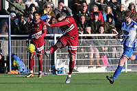George Sykes of Aveley tries a long range shot during Aveley vs Chelmsford City, Buildbase FA Trophy Football at Parkside on 8th February 2020
