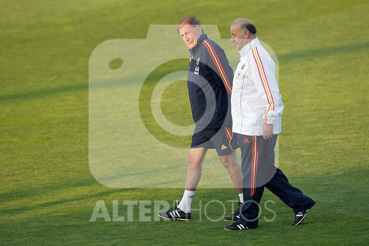 MADRID (24/05/09).- The Spanish Soccer national team has officially begun their hunt for the championship, arriving in the Madrid municipality of Las Rozas to begin preparing for South Africa World Cup.  Vicente del Bosque and Toni Grande...PHOTO: Cesar Cebolla / ALFAQUI
