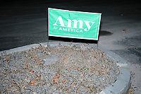 A campaign sign for Democratic presidential candidate and Minnesota senator Amy Klobuchar is seen by the roadside after the candidate spoke at a town hall campaign event at the Londonderry Senior Center in Londonderry, New Hampshire, on Wed., October 16, 2019. The event was part of a 10-county tour of New Hampshire and started the day after the 4th Democratic debate, in which analysts said Klobuchar performed well.