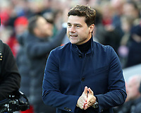 27th October 2019; Anfield, Liverpool, Merseyside, England; English Premier League Football, Liverpool versus Tottenham Hotspur; Tottenham Hotspur manager Mauricio Pochettino walks to his seat prior to the kick off  - Strictly Editorial Use Only. No use with unauthorized audio, video, data, fixture lists, club/league logos or 'live' services. Online in-match use limited to 120 images, no video emulation. No use in betting, games or single club/league/player publications