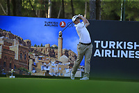 Paul Dunne (IRL) tees off the 17th tee during Friday's Round 2 of the 2018 Turkish Airlines Open hosted by Regnum Carya Golf &amp; Spa Resort, Antalya, Turkey. 2nd November 2018.<br /> Picture: Eoin Clarke | Golffile<br /> <br /> <br /> All photos usage must carry mandatory copyright credit (&copy; Golffile | Eoin Clarke)