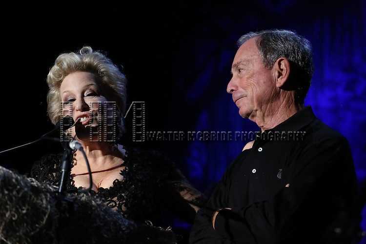 """Bette Midler and Michael Bloomberg  attending Bette Midler's New York Restoration Project's Annual """"Hulaween in the Big Easy"""" at  the Waldorf Astoria on October 31, 2013  in New York City."""