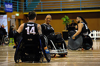 Maia Amai (centre) in action during the 2017 International Wheelchair Rugby Federation Asia-Oceania Zone Championships tournament match between the New Zealand Wheel Blacks and Japan at ASB Stadium in Auckland, New Zealand on Thursday, 31 August 2017. Photo: Dave Lintott / lintottphoto.co.nz