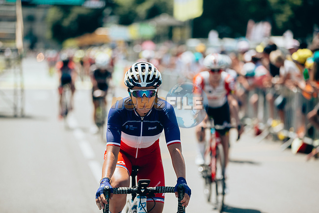 Jade Wiel (FRA) FDJ Nouvelle-Aquitaine Futuroscope crosses the finish line of La Course 2019 By Le Tour running 121km from Pau to Pau, France. 19th July 2019.<br /> Picture: ASO/Thomas Maheux | Cyclefile<br /> All photos usage must carry mandatory copyright credit (© Cyclefile | ASO/Thomas Maheux)