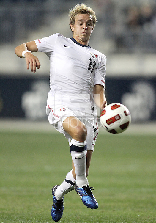 Stuart Holden #11 of the USA MNT during an international friendly match against Colombia at PPL Park, on October 12 2010 in Chester, PA. The game ended in a 0-0 tie.