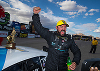 Oct 30, 2016; Las Vegas, NV, USA; NHRA pro stock driver Shane Gray celebrates after winning the Toyota Nationals at The Strip at Las Vegas Motor Speedway. Mandatory Credit: Mark J. Rebilas-USA TODAY Sports
