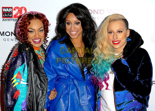 Stooshe - Karis Anderson, Alexandra Buggs & Courtney Rumbold .Attending the Raymond Weil Pre-Brit Awards Dinner and 20th anniversary celebration of War Child at Mosaica, Wood Green, London, UK, .January 24th 2013..half length  blue leather trench coat print bright load patterned dress orange pink fur girl group  dyed hair .CAP/GM/PP.©Gary Mitchell/PP/Capital Pictures