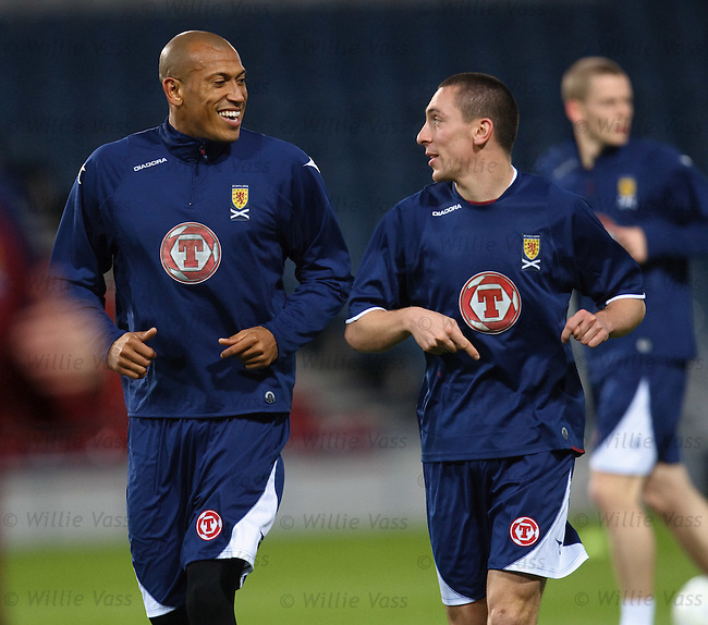 Chris Iwelumo and Scott Brown have a joke at training