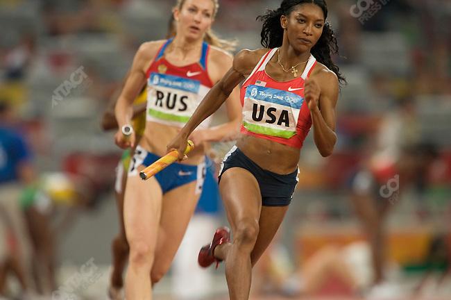 Women's 4x400 Relay final, Monique Henderson (USA) -gold, National Stadium, Summer Olympics, Beijing, China, August 23, 2008